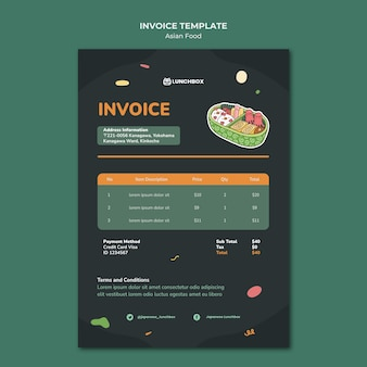 Asian food invoice template