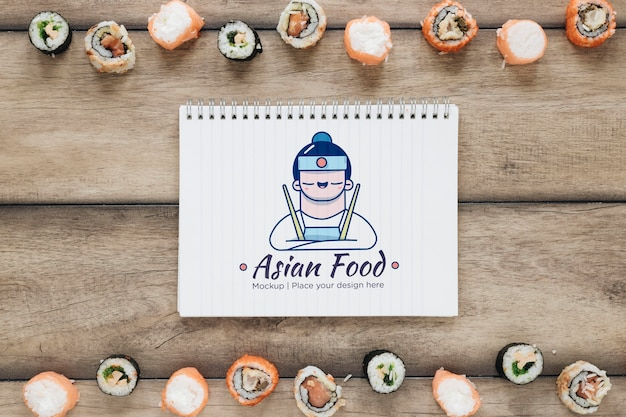 Asian food mock-up with sushi