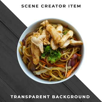Asian food on plate transparent psd