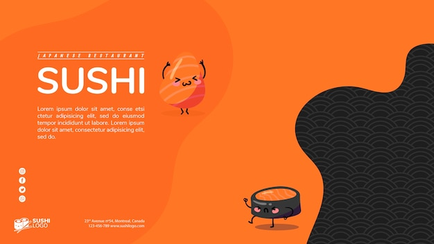 Asian sushi restaurant banner template