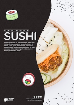 Asian sushi restaurant flyer template