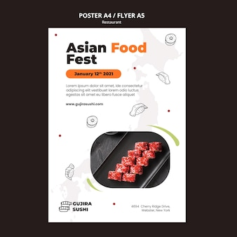Asian sushi restaurant poster print template