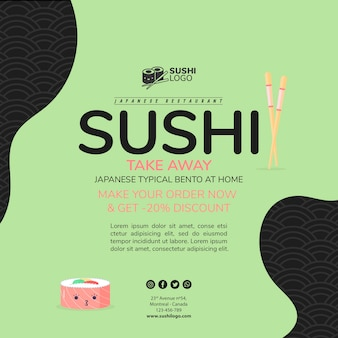 Asian sushi restaurant square banner template