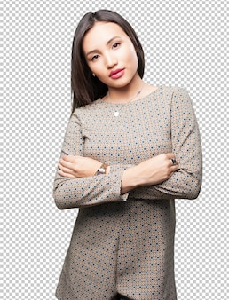 Asian woman crossing arms