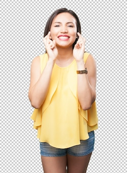 Asian woman crossing fingers