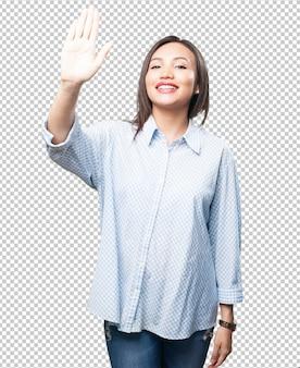 Asian woman greeting