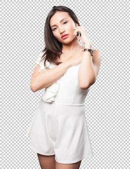 アジアの女性がポーズ