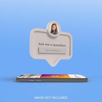 スマートフォンの3dレンダリングソーシャルメディアで質問フレームを教えてください Premium Psd