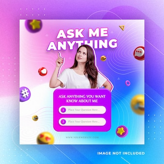 Ask me a question instagram social media post instagram template