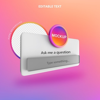 Ask a question instagram 3d isolate right