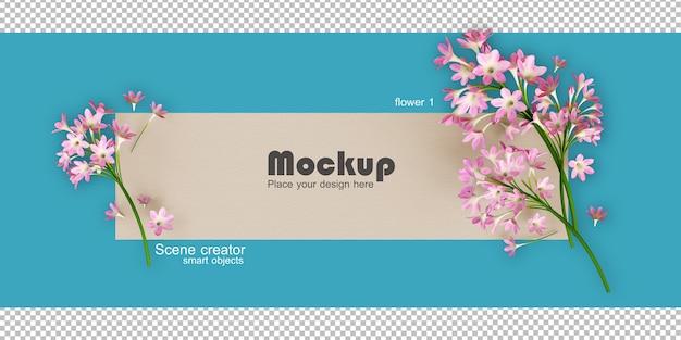 모듬 꽃 프레임 일러스트 모형