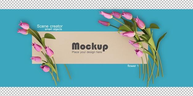 Assorted flower frame illustration mockup