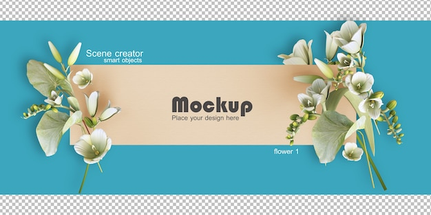 Assorted flower frame illustration mockup