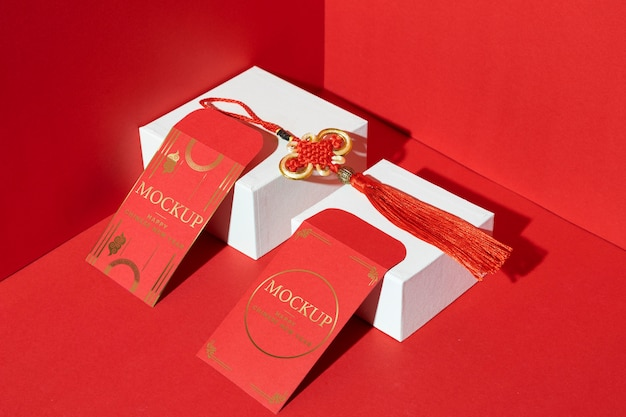 Assortimento di elementi di mock-up del nuovo anno cinese
