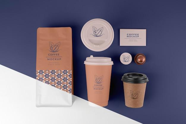 Assortimento di elementi di caffetteria mock-up