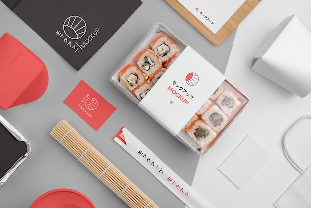 Assortment of japanese fast food with mock-up packaging