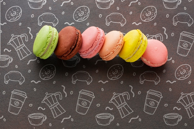 Assortment of macarons with mock-up