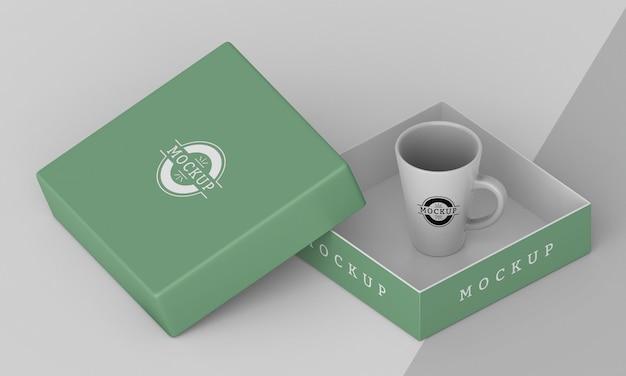 Assortimento di scatola per tazze mock-up Psd Gratuite
