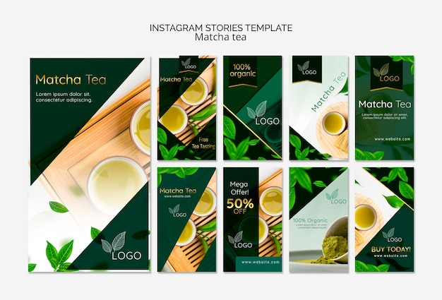 Assortment of social media stories templates