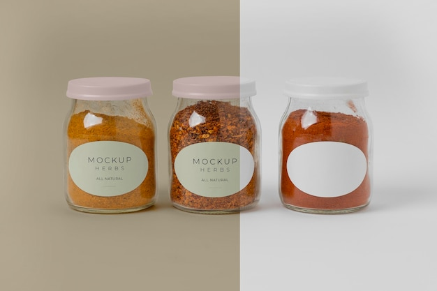 Assortment of spices with label mock-up