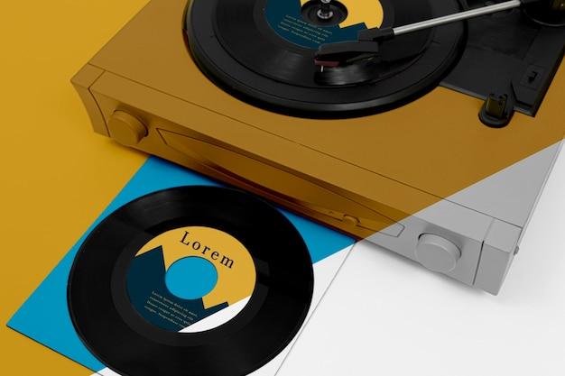 Assortment of vinyl records mock-up