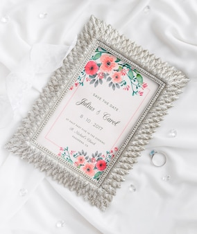 Assortment of wedding elements with frame mock-up