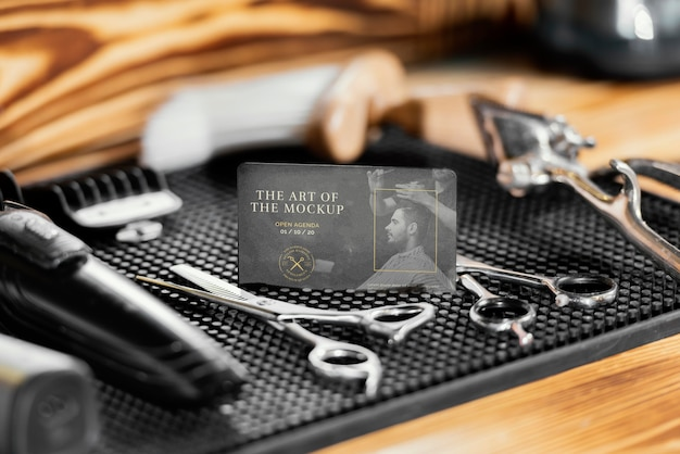 Assortimento con mock-up elemento negozio di barbiere