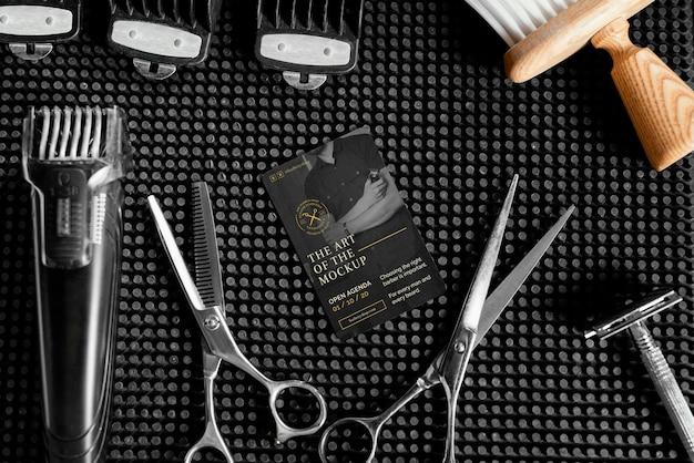 理髪店の要素のモックアップとの品揃え