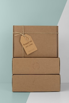 Assortment with craft box tag mock-up
