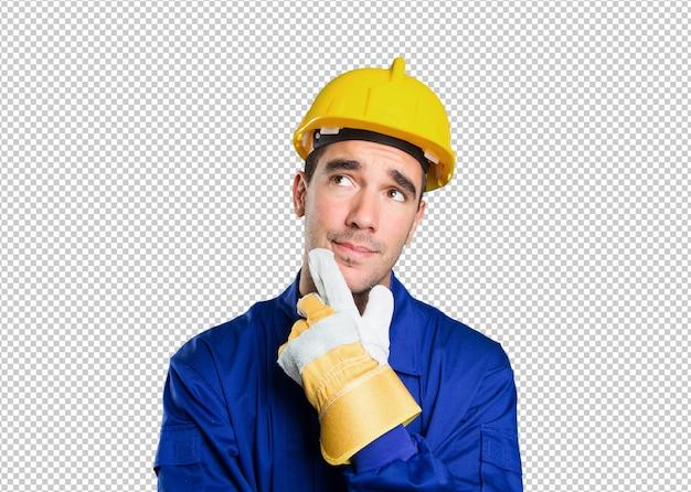Astonished worker wondering on white background