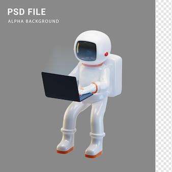 Персонаж космонавта держит ноутбук в 3d-рендеринге