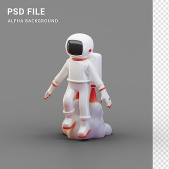Персонаж-космонавт использует ракетную сумку в 3d-рендеринге