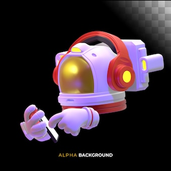 Astronauta che controlla il suo cellulare. illustrazione 3d