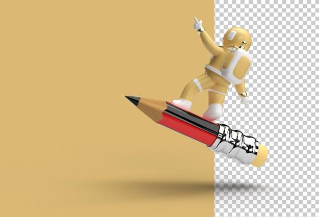 Астронавт, летящий с карандашом, прозрачный файл psd.