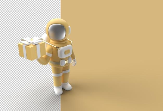 Космонавт рука держит подарочную коробку прозрачный psd файл.