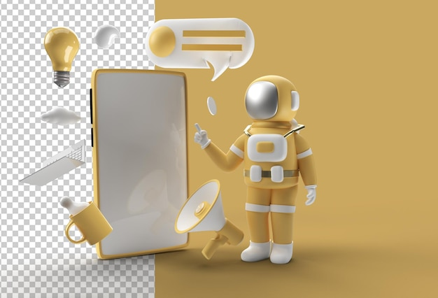 Astronaut hand pointing finger blank screen mockup