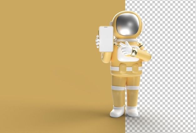 Astronaut hand pointing finger smartphone blank screen mockup