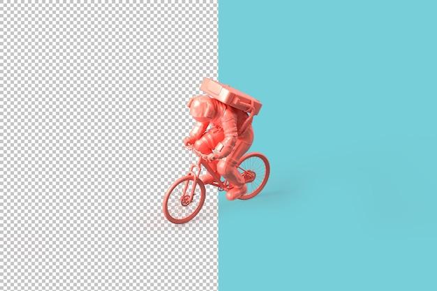 自転車に乗る宇宙飛行士。探査の概念。 3dレンダリング