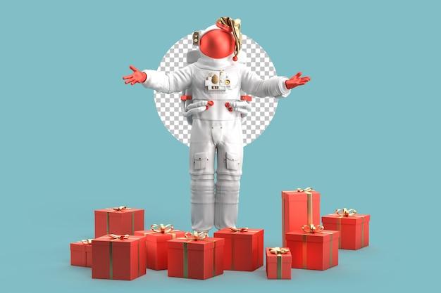 クリスマスプレゼントを持った宇宙飛行士サンタクロース。クリスマスのコンセプト。 3dレンダリング