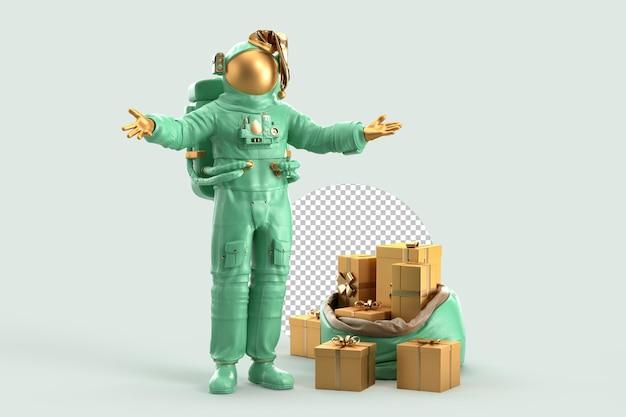 크리스마스 선물 자루와 우주 비행사 산타입니다. 크리스마스 개념입니다. 3d 렌더링