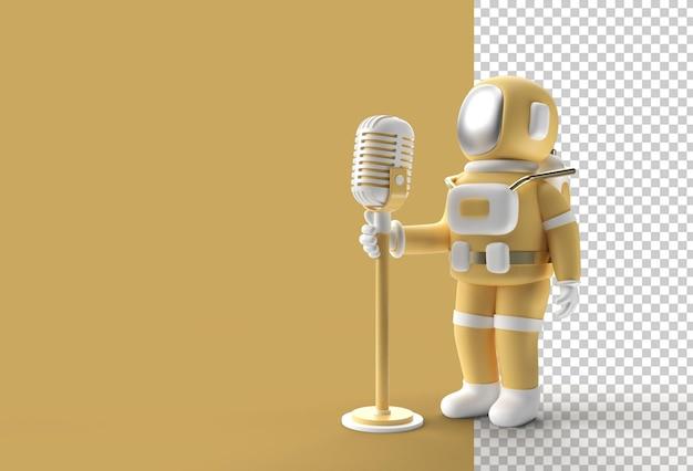 Астронавт поет в старинный микрофон. прозрачный psd-файл