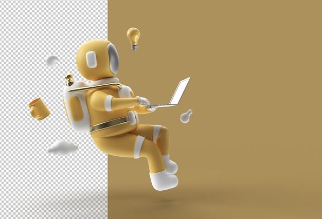 Астронавт сидит на баре и работает на ноутбуке. прозрачный psd-файл.