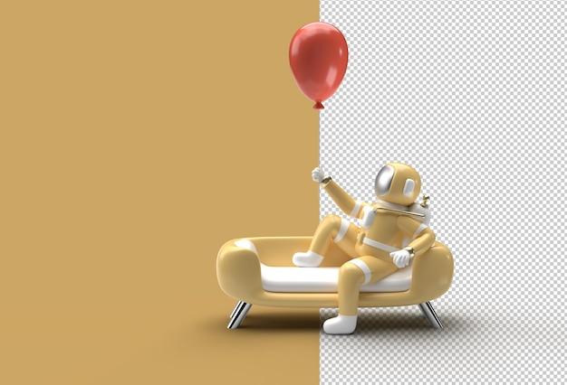 Астронавт сидит на диване с летающим воздушным шаром. прозрачный файл psd.
