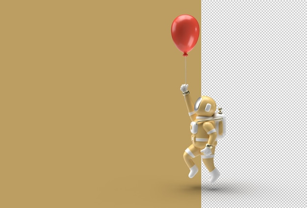 Астронавт с летающим воздушным шаром. прозрачный файл psd.