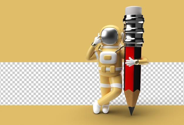 Астронавт с карандашом прозрачный файл psd.