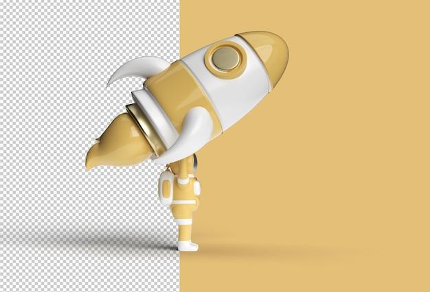 Астронавт с ракетой. прозрачный psd файл.