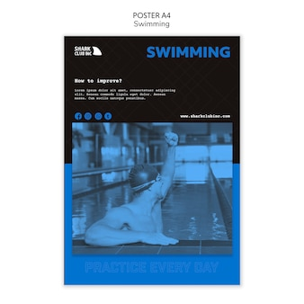 Athletic man swimming club template