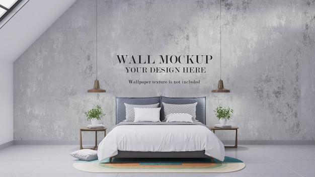 Attic bedroom wall mockup