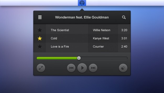 Audio player menu with green progress bar