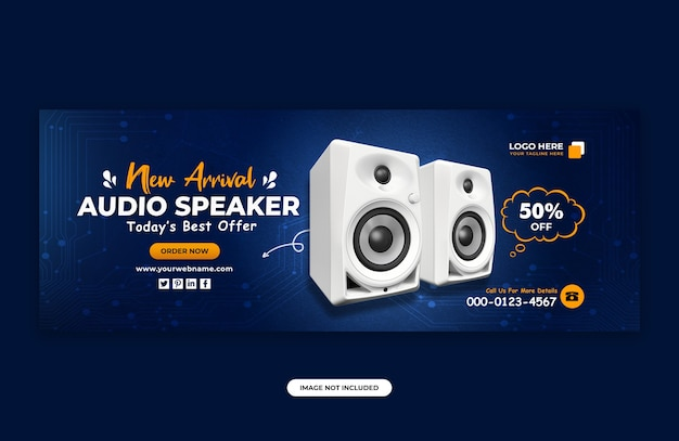 Audio speaker brand product facebook cover banner design template